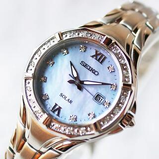 SEIKO - 海外セイコー◇ダイヤモンド28個SEIKOソーラー電池交換不要 レディース腕時計