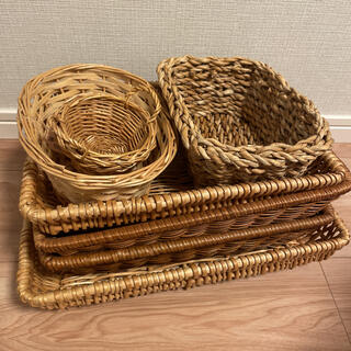 激安天然材 編み カゴ 籠 小物入れ 収納7個まとめ(バスケット/かご)