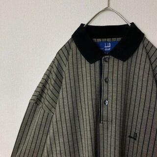 ダンヒル(Dunhill)の【イタリア製】古着 dunhill 半袖シャツ 刺繍ロゴ ストライプ(ポロシャツ)