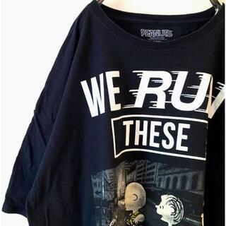 ピーナッツ(PEANUTS)のピーナッツ スヌーピー ラン Tシャツ 3XL ブラック 黒 古着(Tシャツ/カットソー(半袖/袖なし))