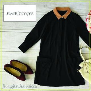 ジュエルチェンジズ(Jewel Changes)のJewel Changes ジュエルチェンジズ バイカラー衿 ポケット付きワンピ(ひざ丈ワンピース)