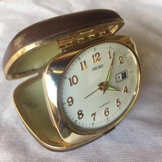 SEIKO - SEIKO セイコー 手巻きトラベルアラーム時計 濃茶 デイデイト オーバル型