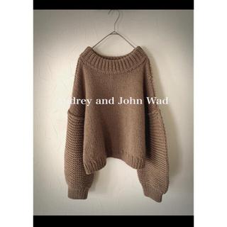 オードリーアンドジョンワッド(audrey and john wad)のAudrey and John Wad ウールクルーネックニット ブラウン(ニット/セーター)