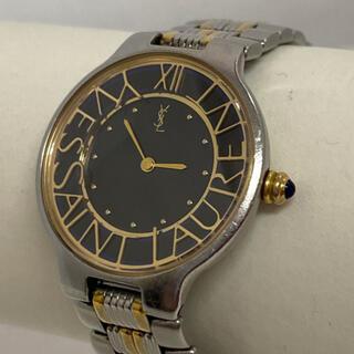 Saint Laurent - 【希少】YSL イヴサンローラン/黒文字盤 レディース腕時計(電池交換済み)