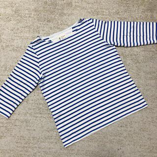 ユニクロ(UNIQLO)のボーダーカットソー ブルー 七分袖 美品 レディース M(カットソー(長袖/七分))