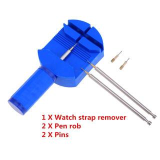 腕時計ベルト調整工具 プラスチック製こまはずし 交換ピン付 ペン型工具付 ブルー