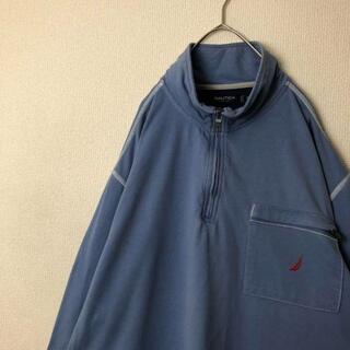 ノーティカ(NAUTICA)の古着 NAUTICA ハーフジップ ロンT 刺繍 胸ポケット くすみブルー(Tシャツ/カットソー(七分/長袖))