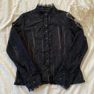 ペイトンプレイス(Peyton Place)のクラシカル《総レーススタンドカラーブラウス》立ち襟 カフス ブラック 黒(シャツ/ブラウス(長袖/七分))