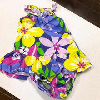 hakka baby - セットアップ可愛いノースリーブ花柄紫80-90検hakkaハッカズ