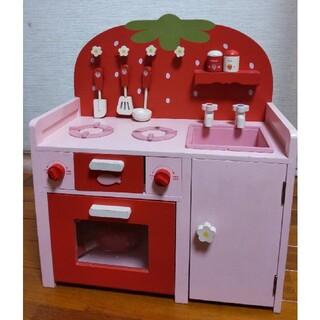 マザーガーデン♪野いちごの木製ままごと システムグリルキッチン♪赤バージョン
