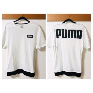 【美品】PUMA(プーマ)★半袖Tシャツ★背面文字ロゴ★白×黒Lサイズ★
