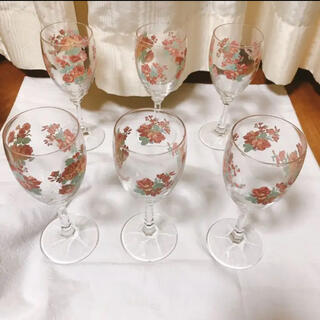 ワイングラス 6脚セット 昭和レトロ(グラス/カップ)