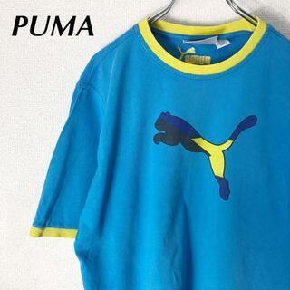 プーマ(PUMA)のプーマ デカロゴ プリント 半袖 リンガーTシャツ トリムTシャツ ブルー青(Tシャツ/カットソー(半袖/袖なし))