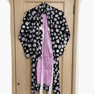 シマムラ(しまむら)の専用☆110サイズ 浴衣と帯セット 紫 花柄(甚平/浴衣)