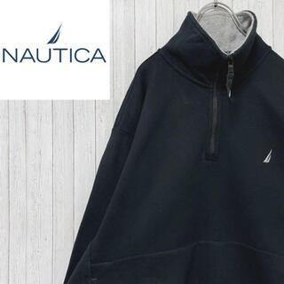 NAUTICA - ノーティカ ハーフジップ スウェット トレーナー 刺繍ロゴ 黒 マフポケット M