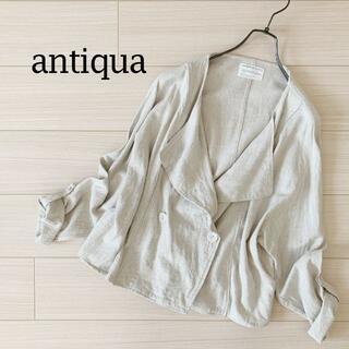 antiqua - 【完売品】アンティカ 麻混ナチュラル デザイン ジャケット オートミール リネン