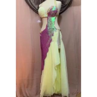 fig  ベリーダンス  衣装 黄色ピンク オリエンタル フュージョン