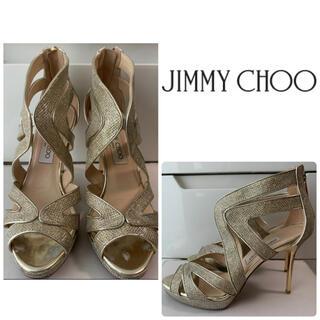 JIMMY CHOO - ジミーチュウ ゴールドグリッター サンダル