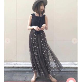 ココディール(COCO DEAL)のココディール チュール×刺繍レース接ぎスカート(ロングスカート)
