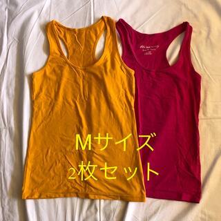 タンクトップ 2枚セット 黄色 ピンク Mサイズ(ヨガ)