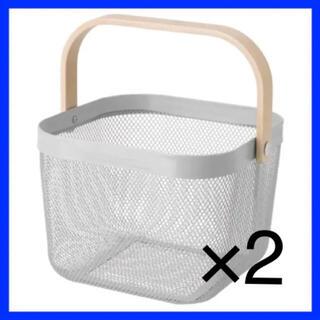 IKEA  RISATORP リーサトルプ バスケット グレー 2つ(バスケット/かご)