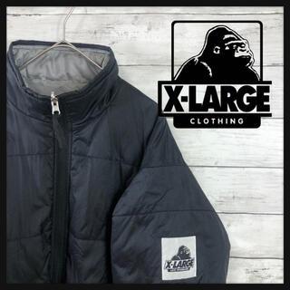 XLARGE - X-LARGE エクストララージ ブラックダウンジャケット 袖口デカワッペンロゴ