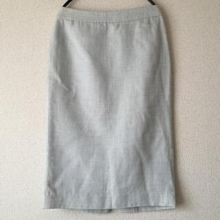 未使用 リネン混 Hライン スカート(ひざ丈スカート)