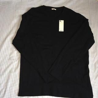 ジーユー(GU)のGU ソフトコットンVネック長袖Tシャツ メンズ 紺色 Lサイズ 綿100%(Tシャツ/カットソー(七分/長袖))