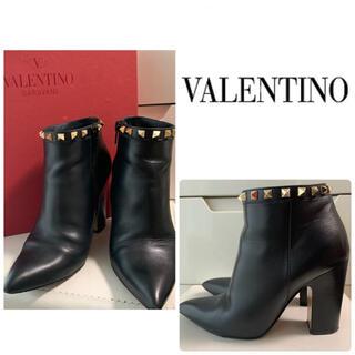 ヴァレンティノ(VALENTINO)のVALENTINO ブラックレザー スタッズ ブーツ(ブーツ)