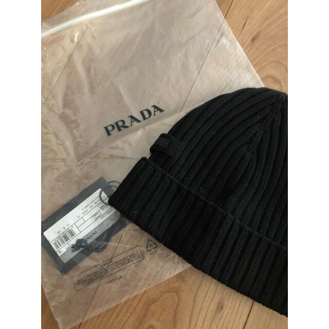 PRADA(プラダ)の正規品 PRADA プラダ ロゴ入り ニットキャップ ブラック ユニセックス メンズの帽子(ニット帽/ビーニー)の商品写真