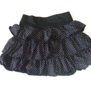 160 スカート 黒 水玉