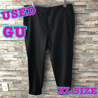 ジーユー(GU)のUSED GU クロップドパンツ スラックス ストライプ ネイビー パンツ XL(クロップドパンツ)