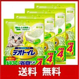 ユニチャーム(Unicharm)の《デオトイレ飛び散らないサンド4L×4袋 緑茶成分入り・消臭サンド》 (猫)
