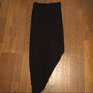 ビーシービージーマックスアズリア(BCBGMAXAZRIA)のBCBGMAXAZRIA  アシンメトリー ロングスカート 黒(ロングスカート)