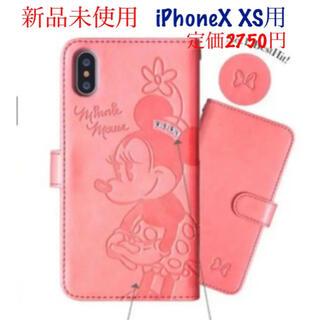 iPhoneX XS用手帳型スマホケース ミニーちゃん(iPhoneケース)