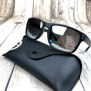 偏光サングラス UV400 マットブラック/シルバーミラー ウェリントン