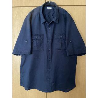 GUジーユー綿麻シャツコットンリネンシャツXLネイビー紺半袖UNIQLO無印良品