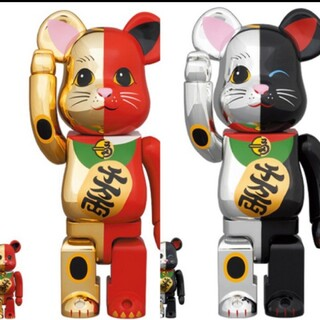 メディコムトイ(MEDICOM TOY)のBE@RBRICK 招き猫 金×赤 銀×黒 100% & 400%(その他)