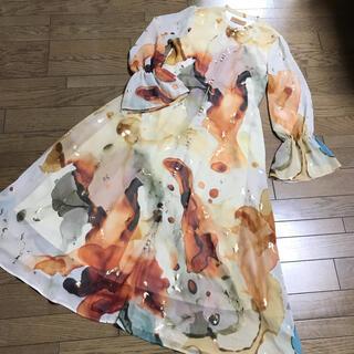 Ameri VINTAGE - 即完売レア新品アメリビンテージ アルコールインクアート柄シフォンロングワンピース