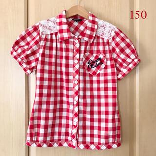 オリンカリ(OLLINKARI)のオリンカリ★レース付き コットン チェックシャツ 赤 150(ブラウス)