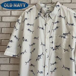 オールドネイビー(Old Navy)の ゆるだぼ OLD NAVY 半袖BDシャツ コットン素材 総柄 ホワイト XL(シャツ)