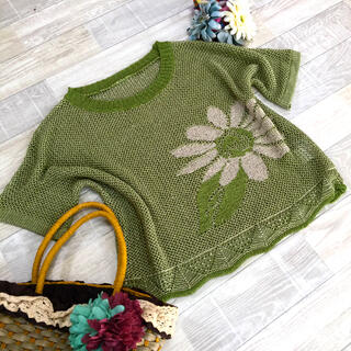 上品な大人の透かし編みトップス♪ざっくりサマーニット(ニット/セーター)
