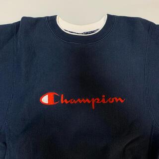 Champion - 刺繍タグ 90s チャンピオン リバースウィーブ スウェット  ネイビー レッド