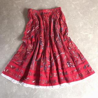 グリモワール(Grimoire)のused レトロ 赤 チロル スカート 古着 ヴィンテージ vintage(ロングスカート)
