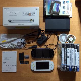 プレイステーションポータブル(PlayStation Portable)のSONY PSP-1000 本体 ソフトセット ジャンク含む/モンハン サッカー(携帯用ゲーム機本体)