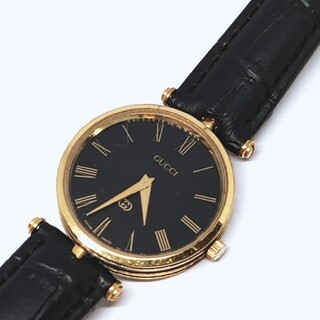 Gucci - 【正規稼働品】GUCCI グッチ QZ GGロゴ ブラックローマン メンズ腕時計