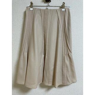 シビラ(Sybilla)の美品 シビラ 膝丈スカート 裏地付き ベージュ フレアスカート プリーツスカート(ひざ丈スカート)