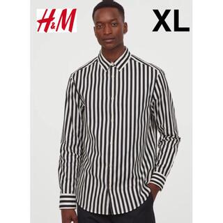 エイチアンドエム(H&M)の新品 安値 H&M ストライプ コットン長袖シャツ XL(シャツ)