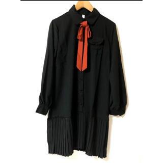 ♡新品♡裾プリーツリボン付きワンピース ブラック