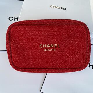 シャネル(CHANEL)のシャネル 2020ホリデー限定 ノベルティ ポーチ レッド 箱付き正規品(ポーチ)